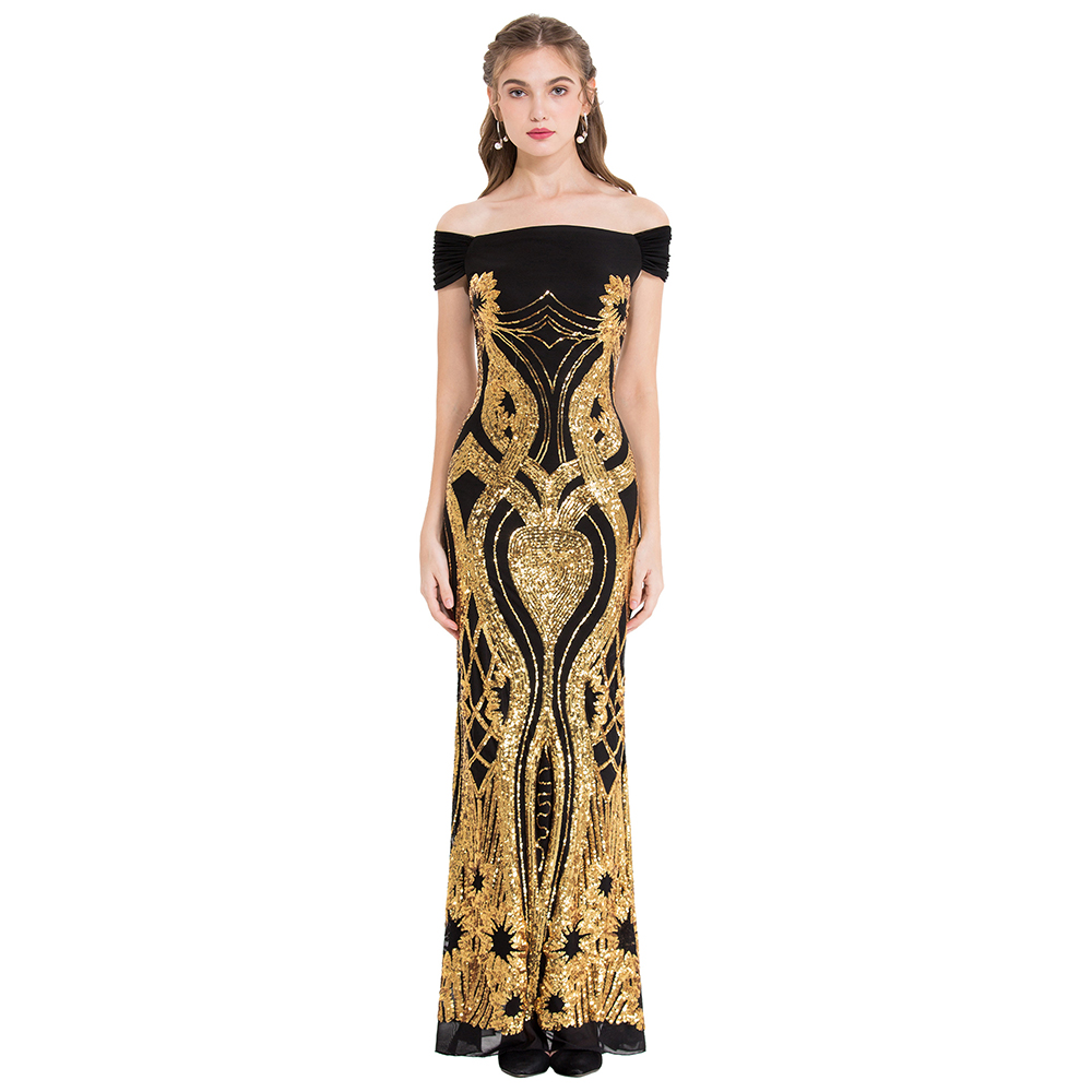 Angel fashions Women s Off Shoulder Vintage Mother of Bride Dresses Gold Sequin Pattern Formal Gown
