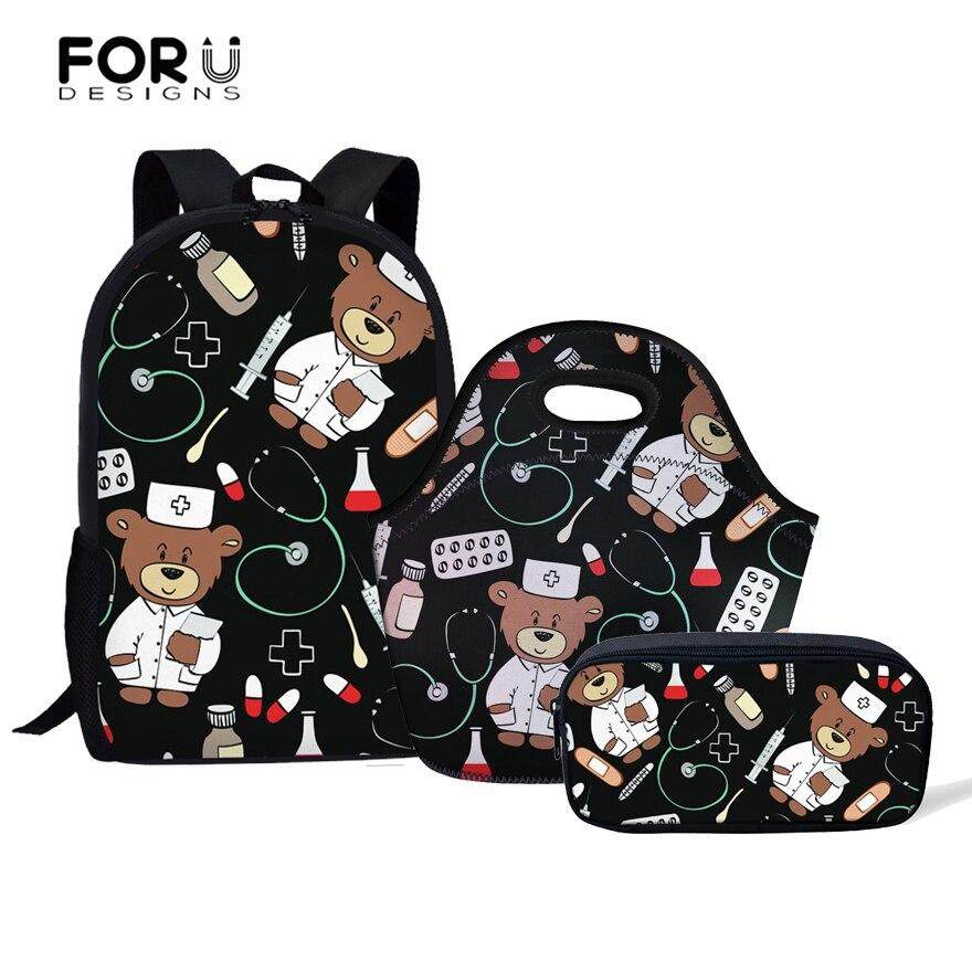 FORUDESIGNS/Носки с рисунком медведя из мультика медсестра Pattern Back To School студенческие рюкзаки набор детей школьные сумки для девочек-подростков р...