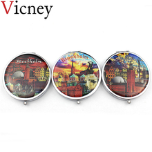 Vicney Portable Foldable Pocket Makeup Compact Mirror Retro style Woman Mini Beauty Normal Magnifying Double Sides