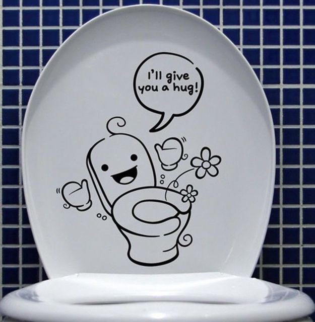 D509 CUTE REMOVABLE WALL STICKERS DECAL KIDS FUNNY BATHROOM TOILET SEAT  DECOR VINYL