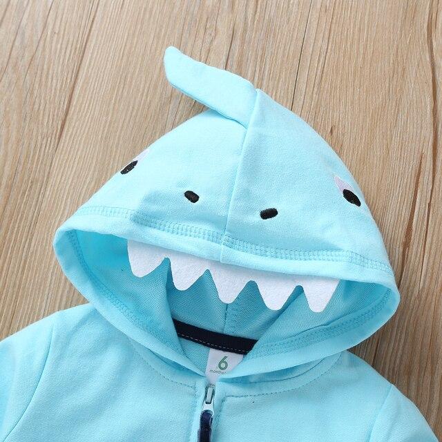 cartoon shark baby boy set long sleeve hooded coat blue+bodysuit+pants stripe 2020 spring fashion babies outfit newborn clothes 4