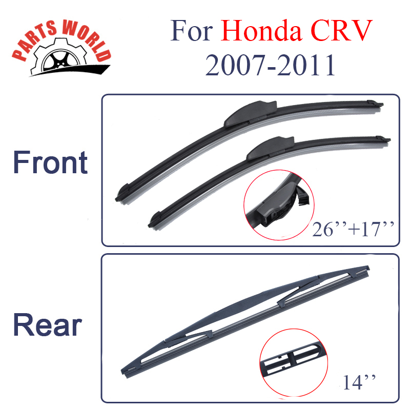 Partsworld Front And Rear Wiper Blades For Honda CRV 2007-2011 Nature Rubber Windscreen Auto Windshield Car Accessories Brushes sumks wiper blades for honda insight 26