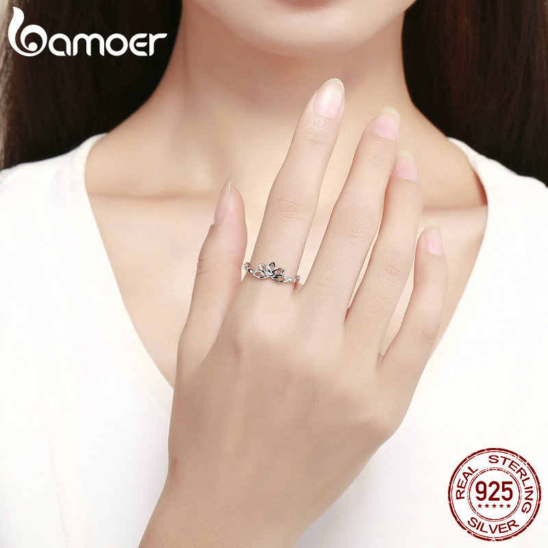 BAMOER Elegant แท้ 925 Sterling Silver Lotus ดอกไม้แหวนดอกไม้แหวนเงินสเตอร์ลิงเงินเครื่องประดับ BSR018