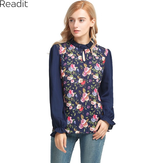 24824951cea6b Readit Women Floral Printed Blouses Frilled Long Sleeve Shirts Blouses  Ladies Fashion Keyhole Tops Plus Size