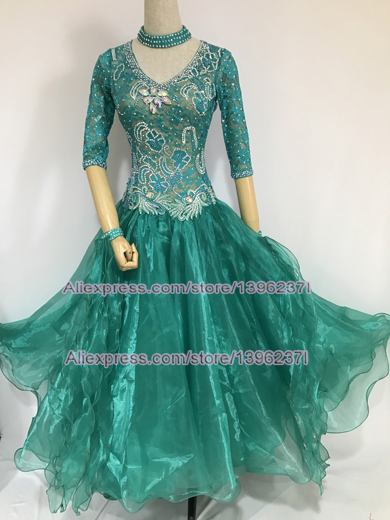 Lady s Standard Ballroom Dance Skirt 2018 New Design High Quality Green Waltz Ballroom Competition Dance