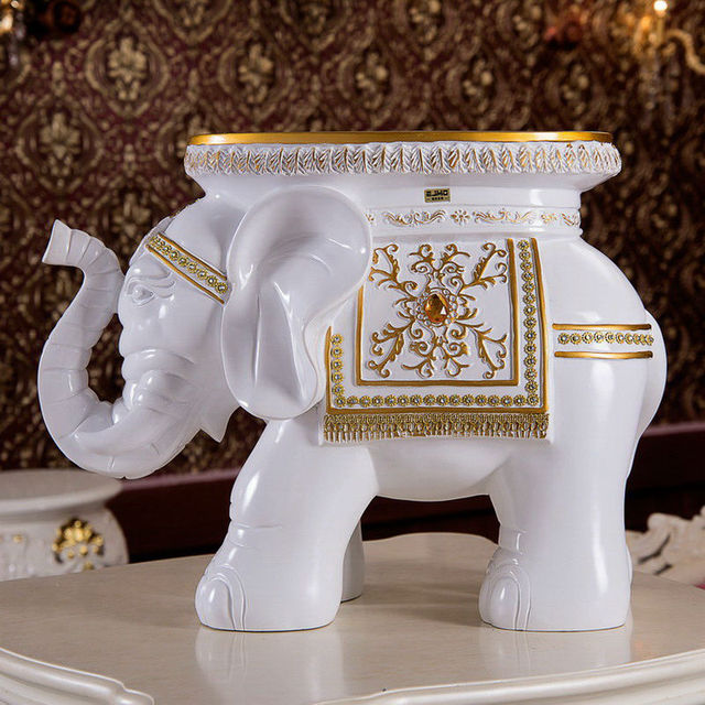 Large Resin Garden Statues White Elephant Stool Home Decoration Accessories