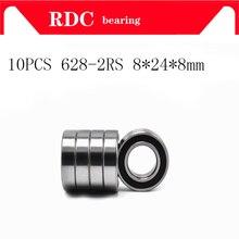 10 pces ABEC-5 628 2rs 628rs 628-2rs 628 rs 8x24x8mm miniatura dupla borracha selo de alta qualidade profundo rolamento de esferas do sulco