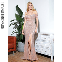 LOVE&LEMONADE Sexy Rose Gold Tube Top Split Short Sleeve Elastic Sequins Bodycon Maxi Dress LM81727