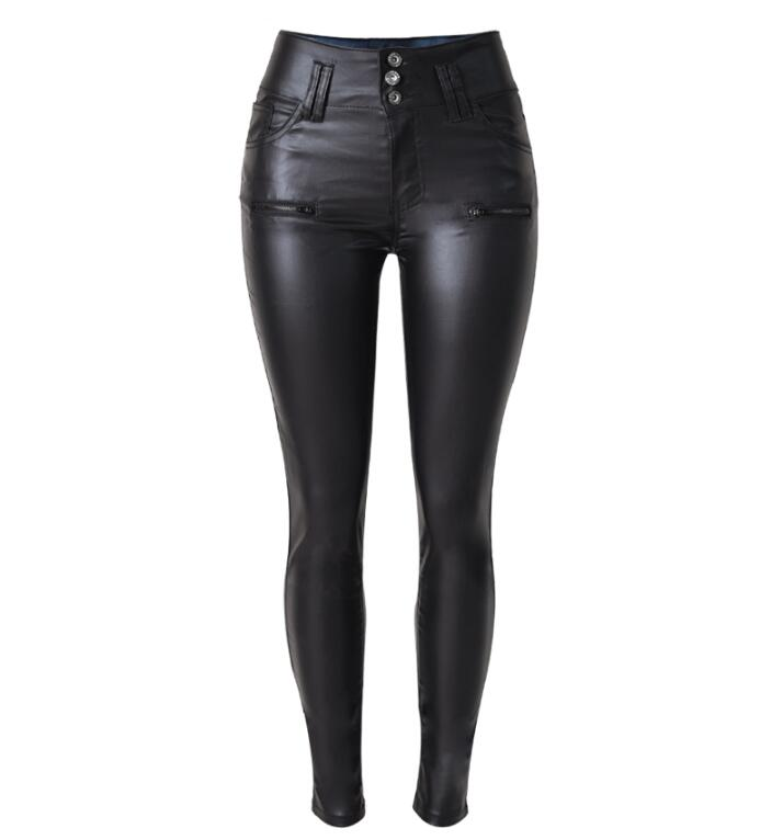 Women s Plus Size High Waist Slim font b Leggings b font 3 button PU Imitation