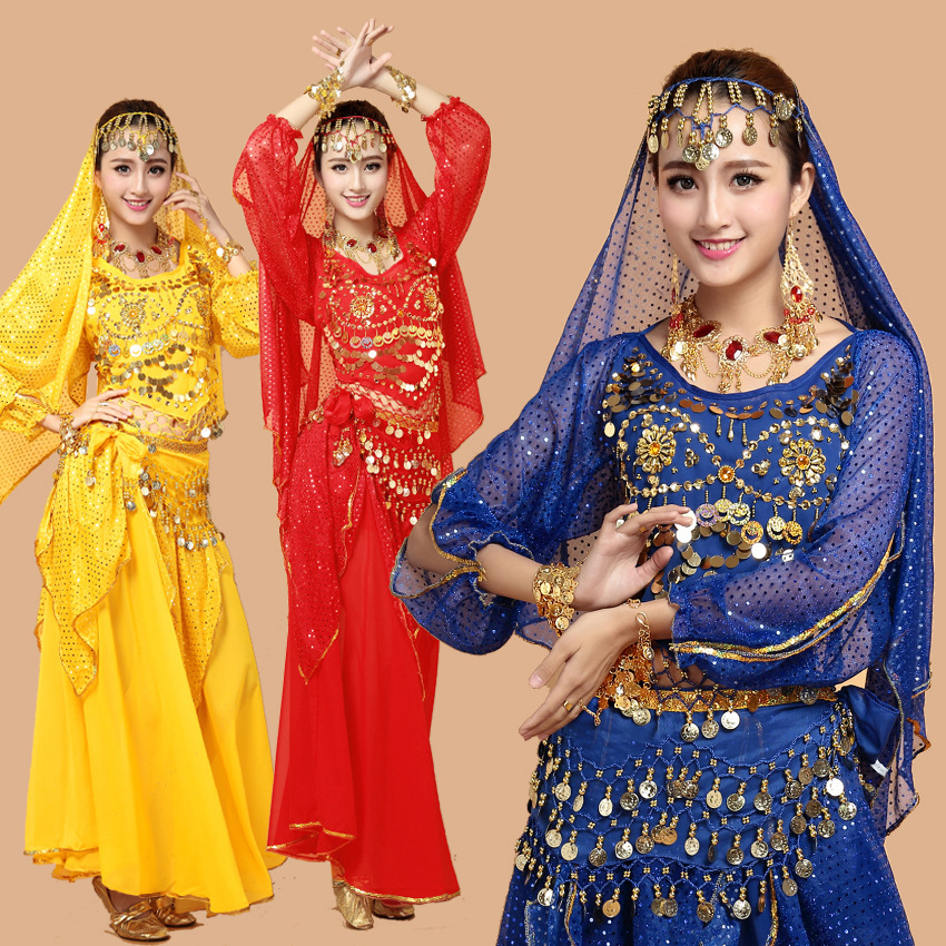 Belly Dance Costumes 2018 New Dance Costume Women Bellydance Clothes Oriental Dance Xinjiang Arab Long Sleeve Dance Wear DN1397