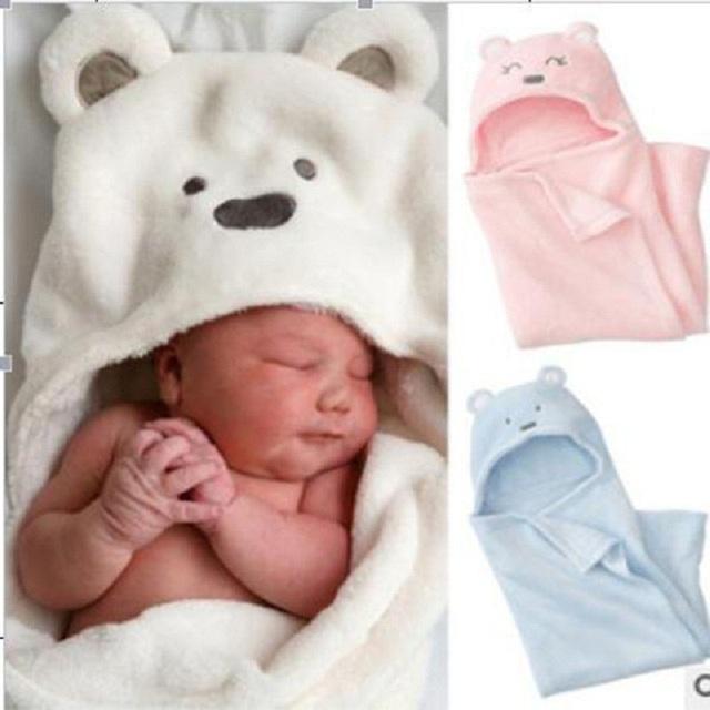 2016 Nueva Coral Polar Mantas de Bebé Recién Nacido Bebé suave Abrigo Del Bebé de Niño y Niña Niños Oso de Dibujos Animados Bolsa de Dormir