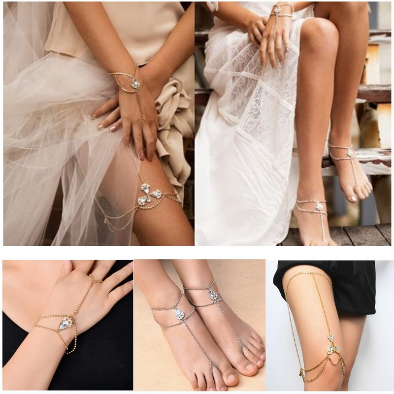 Generous 1pc/lot European And American Style Crystal Foot Chain Hand Chain Leg Chain Fashion Personality Sexy Party Bracelet Jewelry Fast Color Jewelry & Accessories Bangles