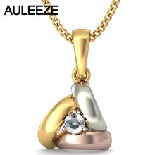 Solitaire Prong Setting Yellow White Rose Gold Pendant 14K Tri Color Gold Jewelry Brilliant Round Real Natural Diamond Necklace