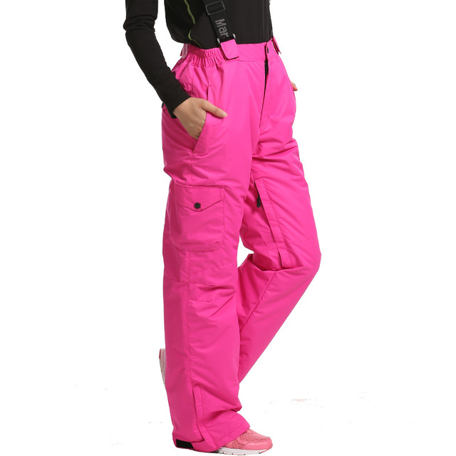 Snowboard Pants Female -30 degree snow pants with Straps Girls trousers  winter outdoor Waterproof Breathable ski pants for women 079f23c09