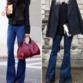 Spring New Fashion Girls Retro Hipped Women Wide Leg Long Flared Bell Bottom Jeans Denim Trousers Pants Size S M L