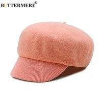 BUTTERMERE Woolen Berets Caps For Women Ivy Cap Pink Winter Elegant Ladies Beret Hats Warm British