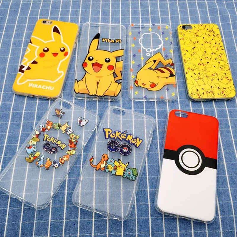 Phone Case For iPhone 5 5S X 6 6S 8 7 Plus Mobile Game Pokemons Go Poke Ball Cartoon Painting Cute Soft Tpu Cover For 5S 6S Capa