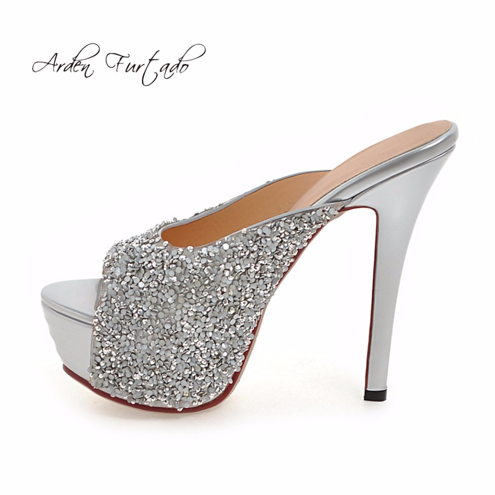 5e9bf346ce0b1e Detail Feedback Questions about Arden Furtado 2018 summer high heels  platform slippers bling bling fashion shoes for woman peep toe mules  stilettos slides ...