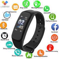 Lerbyee C1Plus Smart Band Bloeddruk Fitness Tracker Hartslagmeter Smart Armband Zwarte Mannen Horloge voor Sport Klimmen