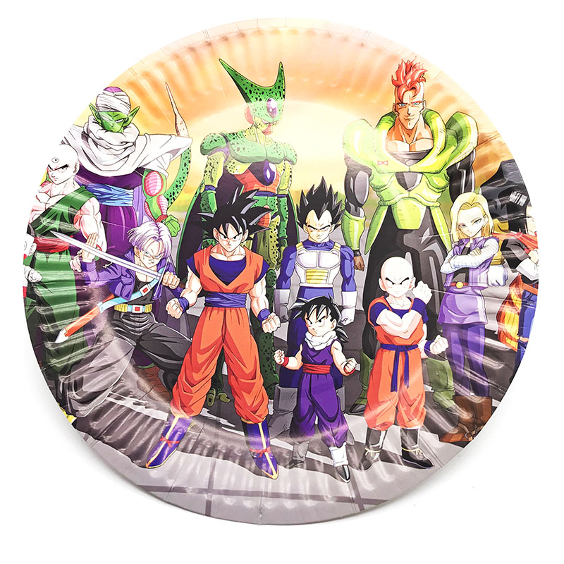 10pcs Pack Dragon Ball Paper Plates Theme Disposable Dishes Birthday Party Decorations
