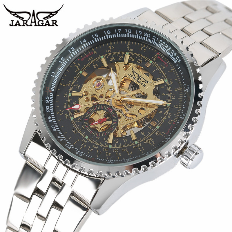 JARAGAR Mechanical Watch Men Military Skeleton Dial Tourbillon Watches Automatic Self Wind Wristwatches Clock with Gift Box (3) ks black skeleton gun tone roman hollow mechanical pocket watch men vintage hand wind clock fobs watches long chain gift ksp069