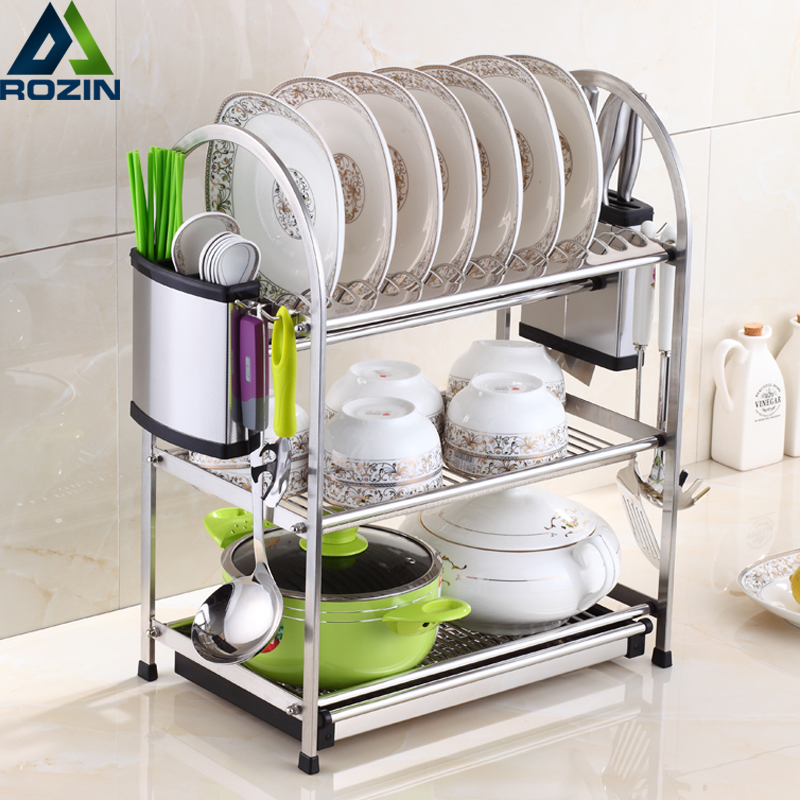 Stainless Steel Dish Rack Set 3-Tier Kitchen Organizer Tools Plate Spoon Storage Frame Drain Bowl Rack Kitchen Dish Shelf smiley pattern stainless steel birch kitchen spoon bronze silver