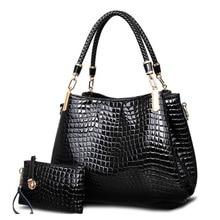 kit bag brand crocodile women totes lady handbag+purse/wallet carteras mujer big capacity black white shoulder bag 2bags/sets