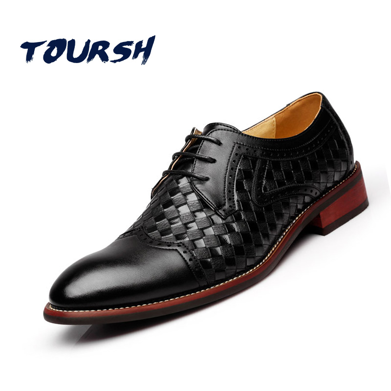 TOURSH British Style Men Dress Shoes Party Wedding Crocodile Leather Black Brown Men Oxford Shoes Brogue Lace Up Zapatos Hombre vikeduo style semi brogue oxford shoes men welted brown color black sole handmade mens wedding dress shoes footwear casual