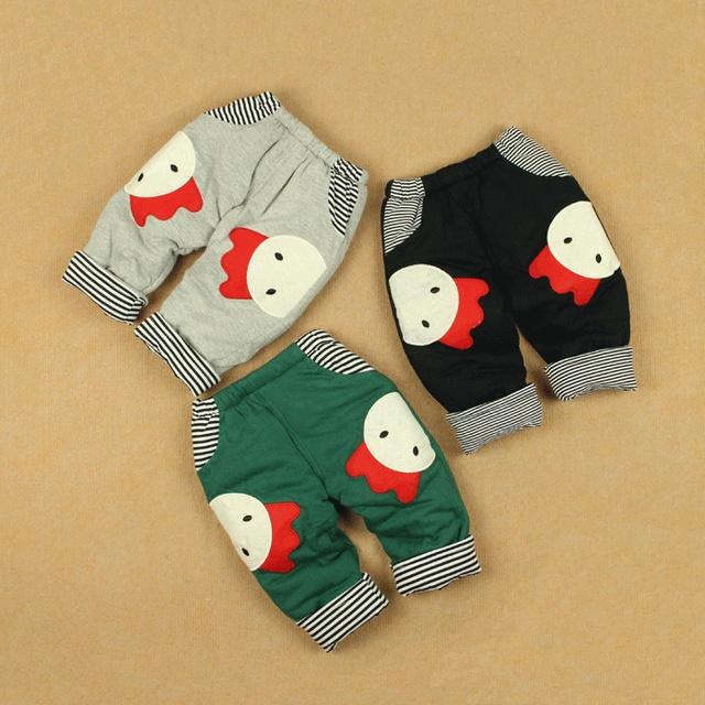 Allo lugh pattern male female child winter thickening cotton-padded trousers ploughboys openable-crotch infant baby trousers