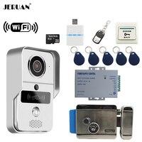 JERUAN 720 P серебро Wi Fi телефон видео домофон комплект беспроводной запись дверные звонки для смартфонов удаленного просмотра разблокировать э