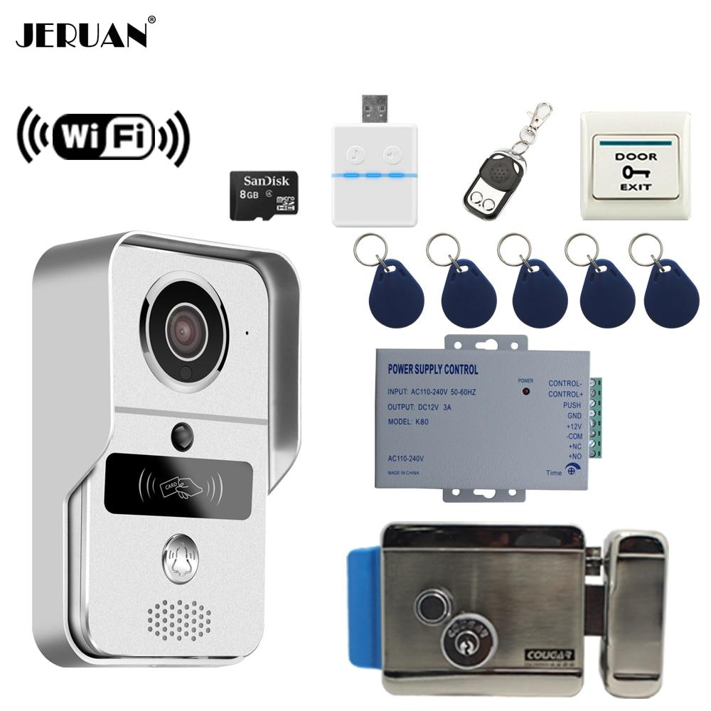 JERUAN 720 p Argent WiFi Vidéo Porte téléphone Interphone Sans Fil Enregistrement Sonnette Pour Smartphone Vue À Distance Déverrouiller serrure Électronique