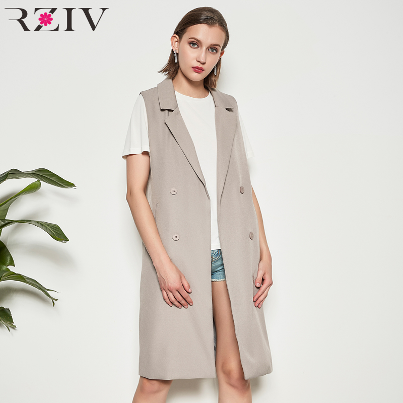 RZIV Spring Women coat casual solid color sleeveless cardigan ladies long jacket coat