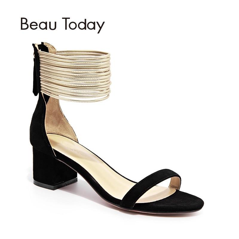Здесь продается  BeauToday Sandals Women Sheepskin Suede Summer Shoes Cover Heel Zipper Rome Style Ankle Strap Female Sandal Handmade 32012  Обувь
