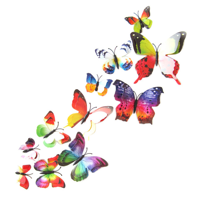 US $0.74 39% OFF|3d cute butterfly wall stickers waterproof 12Pcs/Pack home  decoration accessories children bedroom decals 2017 wedding wallpaper-in ...