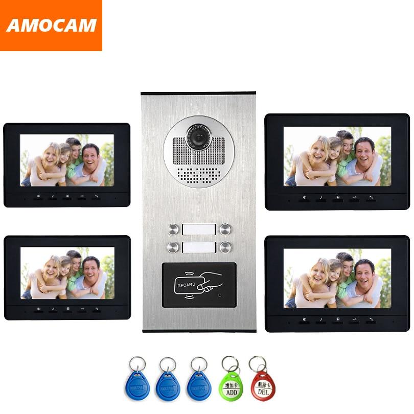 4 Units Apartment intercom system Video Door Phone Door Intercom HD Camera 7 Monitor video Doorbell 5-RFID Card for 4 Household