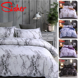 Image 2 - Sisher Modern Marble Print Bedding Set White Black Duvet Cover Sets Single Double Queen King Size Bedclothes Quilt No Bed Sheet