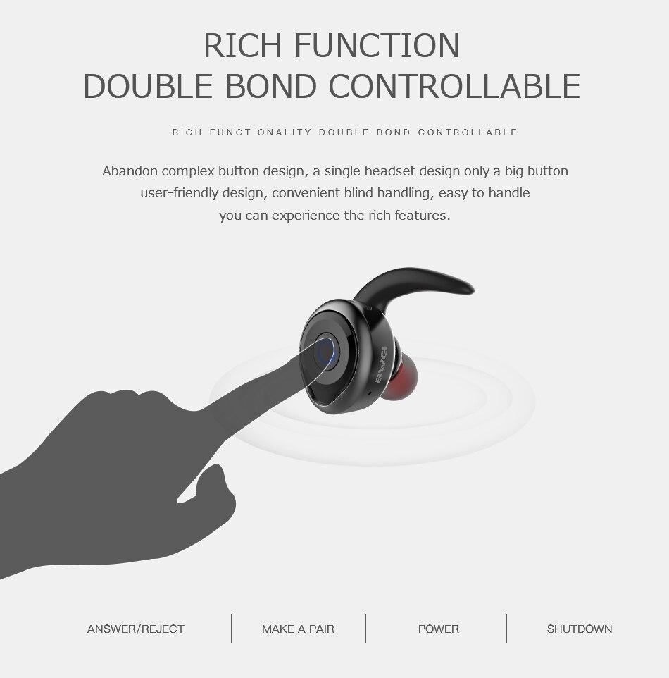 Smoke Pipe - AWEI T1 TWS Bluetooth Earphone Mini Bluetooth V4.2 Headset