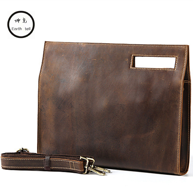 KUNDUI Genuine Leather Men Fashion Man Crazy Horse Cowhide Shoulder Handbag Retro Messenger Bags Male Briefcase Men's Travel Bag ms crazy horse genuine leather men bag men s leather bag men messenger bags shoulder crossbody bags man handbag briefcase tw2011
