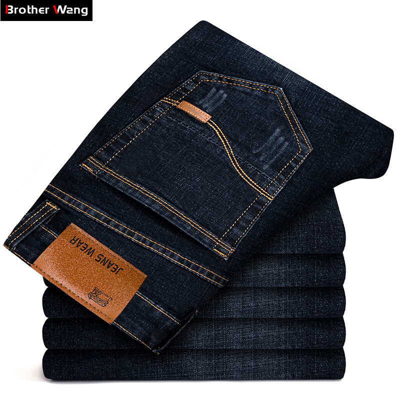 Brother Wang Brand 2020 New Men's Black Jeans Business Fashion Classic Style Elastic Slim Trousers Jeans Male 108