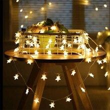 купить Garland 4m 20LED Star String Lights Christmas Festoon LED Lights Decoration For Wedding Holiday Party guirlande lumineuse дешево