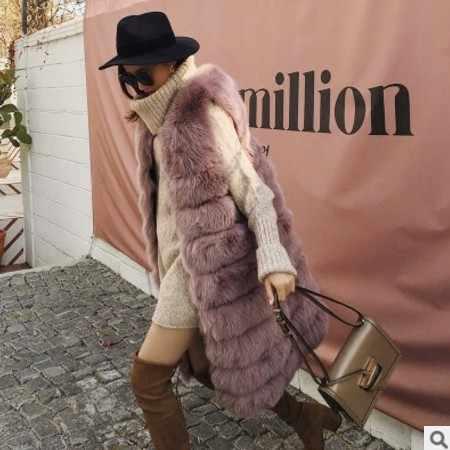 2019 Vetement invierno Oficina señora Faux piel de zorro abrigo de piel peluda cuello en V chaleco peludo Lolita cintura exterior de piel larga chaleco AW287