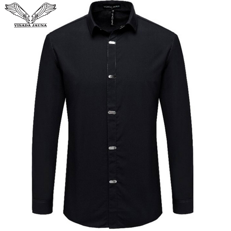VISADA JAUNA Men's Shirts 2018 Autumn New Arrival British Style Casual Long Sleeve Solid Male Business Slim Fit Shirt 4XL N511