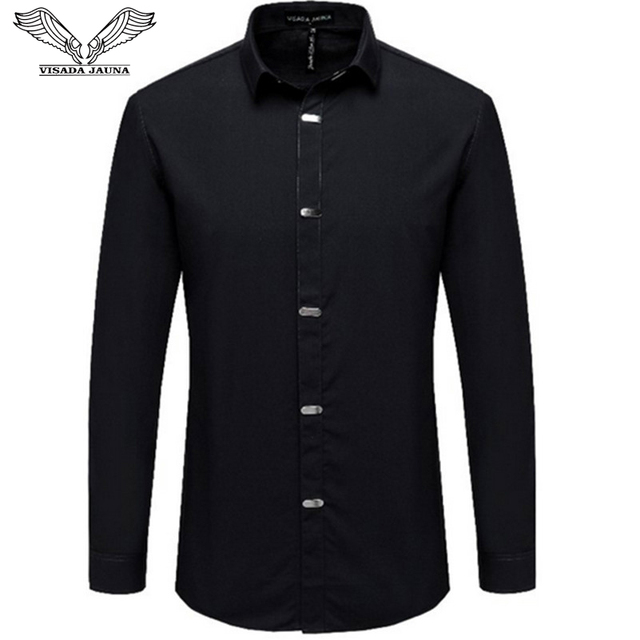 VISADA JAUNA 男性のシャツ 2018 秋の新到着英国スタイルカジュアルロングスリーブソリッド男性ビジネススリムフィットシャツ 4XL N511