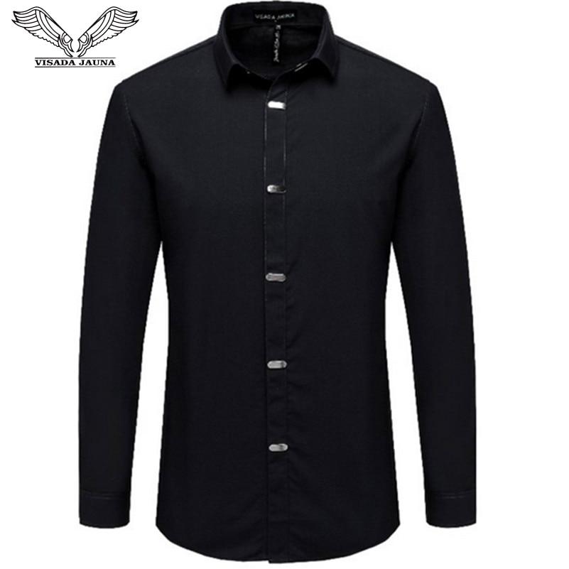 VISADA JAUNA Men's Shirts 2018 Autumn New Arrival British Style Casual Long Sleeve Solid Male Business Slim Fit Black Shirt 4XL