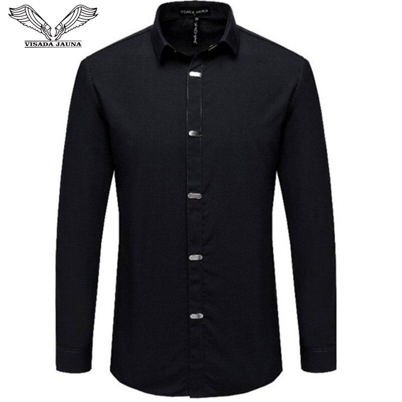 VISADA JAUNA chemises pour hommes 2018 automne nouveauté Style britannique décontracté à manches longues solide homme affaires coupe ajustée chemise 4XL N511