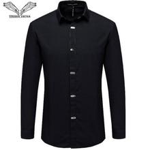 VISADA JAUNA koszule męskie 2018 jesień nowy nabytek brytyjski styl Casual z długim rękawem solidna męska elegancka typu Slim Fit czarna koszula 4XL