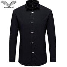Рубашка VISADA JAUNA мужская с длинным рукавом, повседневная однотонная деловая приталенная, в британском стиле, черная, 4XL, осень 2018