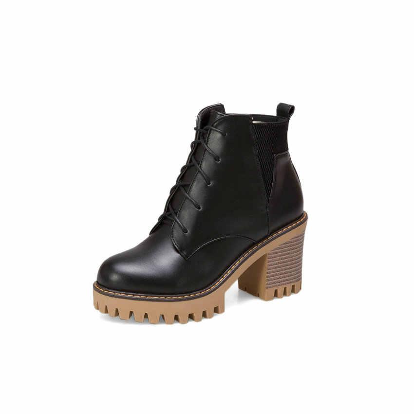 ESVEVA 2019 Kadın Botları Elastik Bant Yuvarlak Ayak Batı Tarzı Ayakkabılar Sonbahar Kadın yarım çizmeler Ayakkabı Platformu 2 cm Yüksek Topuklu 34-43