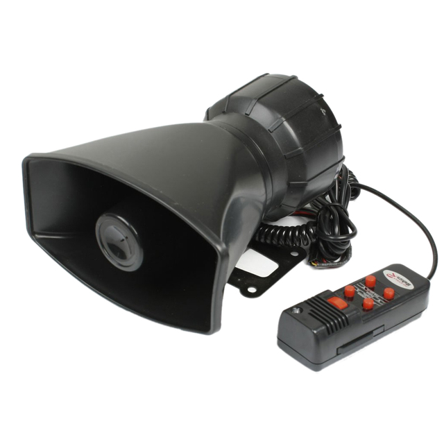 AUTO 60W DC 12V 5 Tones Electronic Siren Horn w Microphone for Cars