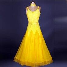 women modern dance skirt  diamond ballroom dance performance wear tango waltz dance costume dress yellow, blue ro
